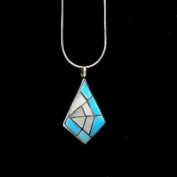 Arrowhead Pendant with Spider Web design in Turquoise & Shell